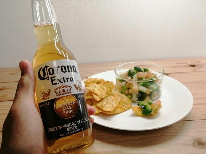 メキシカンビールとフレッシュサルサ