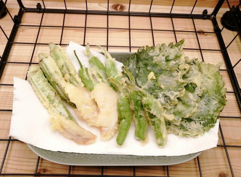 キューブ水耕栽培で収穫した大葉を天ぷらに hydroponics perilla tempura
